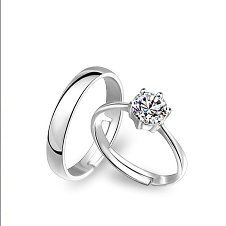 925 sterling silver engagement couple platinum wedding rings