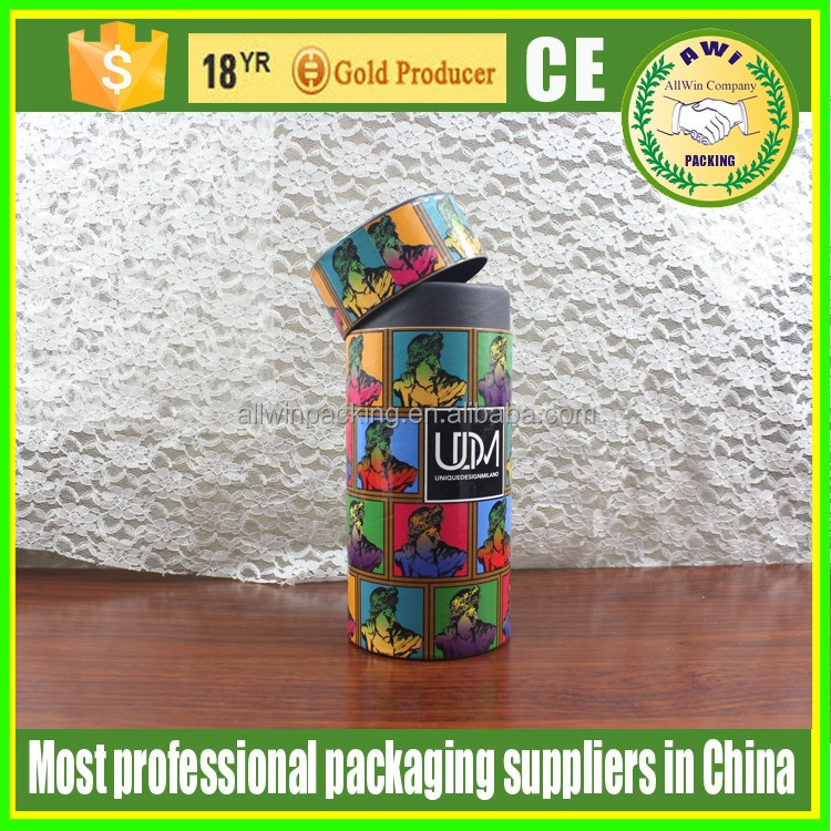 AWI custom rigid cardboard paper tube with matt and spot UV for gift