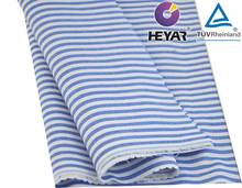 cotton yarn dyed middle blue stripe and white stripe shirting fabric