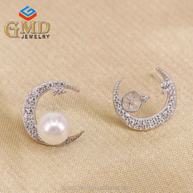 Global glaze new products wholesale brilliant silver 925 moon shape fashion earrings