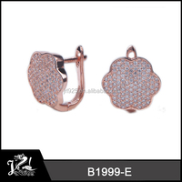 Fashion Rose Gold Plating Earring With Small Crystals Heart Pendant And Earrings