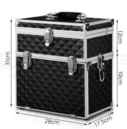 LARGE TRAVEL ALUMINUM JEWELRY CARRY CASE ROLLING CASE WITH JEWELRY TRAYS JH529J