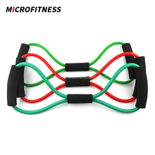 Fitness band 8 shape latex tube exerciser resistance band set