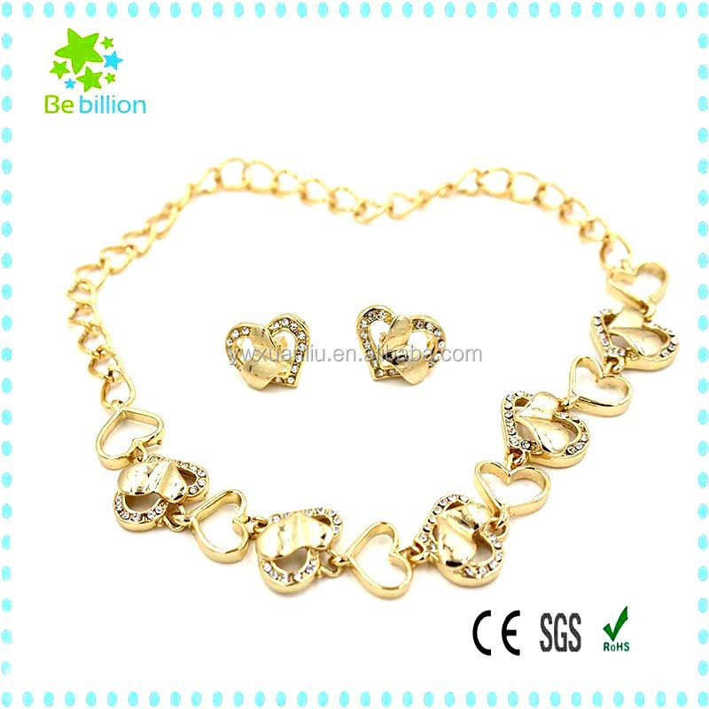 yiwu plate necklace jewelry , wedding women necklace ,a heart-shaped necklace set