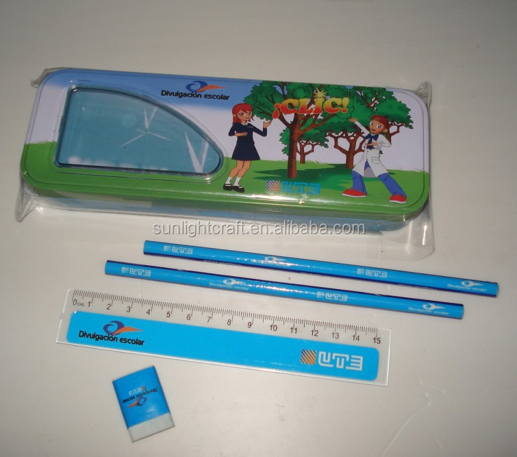wholesale school cartoon printing cheap tin pencil box