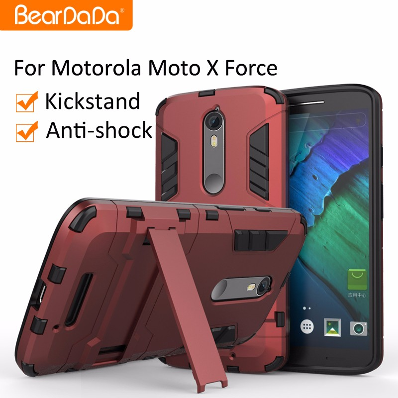 Anti shock kickstand tpu pc case for moto x force accessories