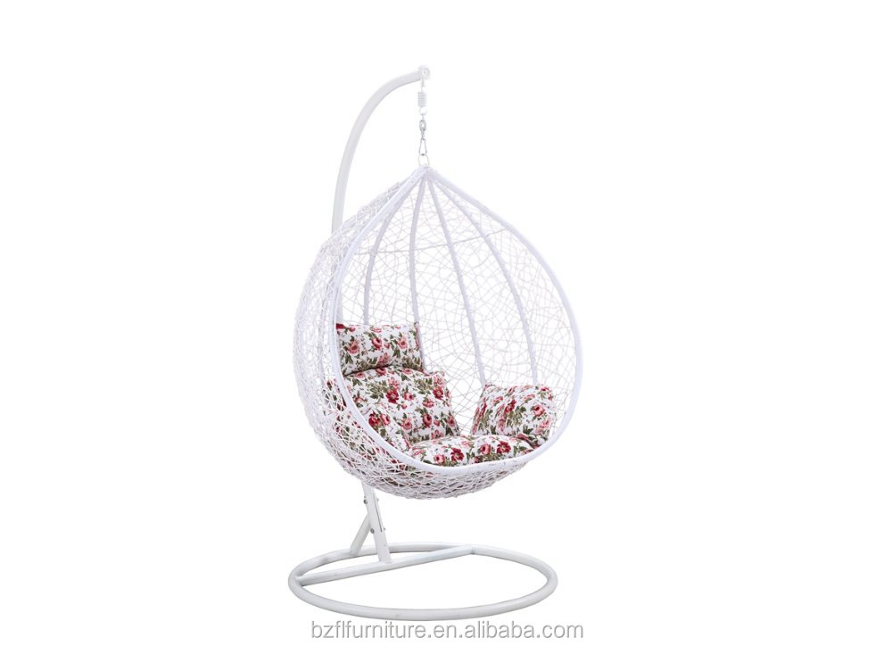 Indoor Bamboo Round Egg Hanging Swings Chair For Bedroom With Metal Stand