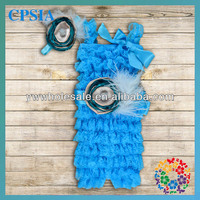 Bule Petti Baby Romper Match Blue Bows and Feather Headbands Pretty Solid Color Ruttled Romper