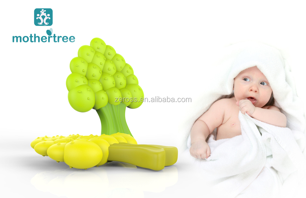 High Quality Bpa Free Food Grade Tree Soft Silicone Teether/ Silicone Baby Teether