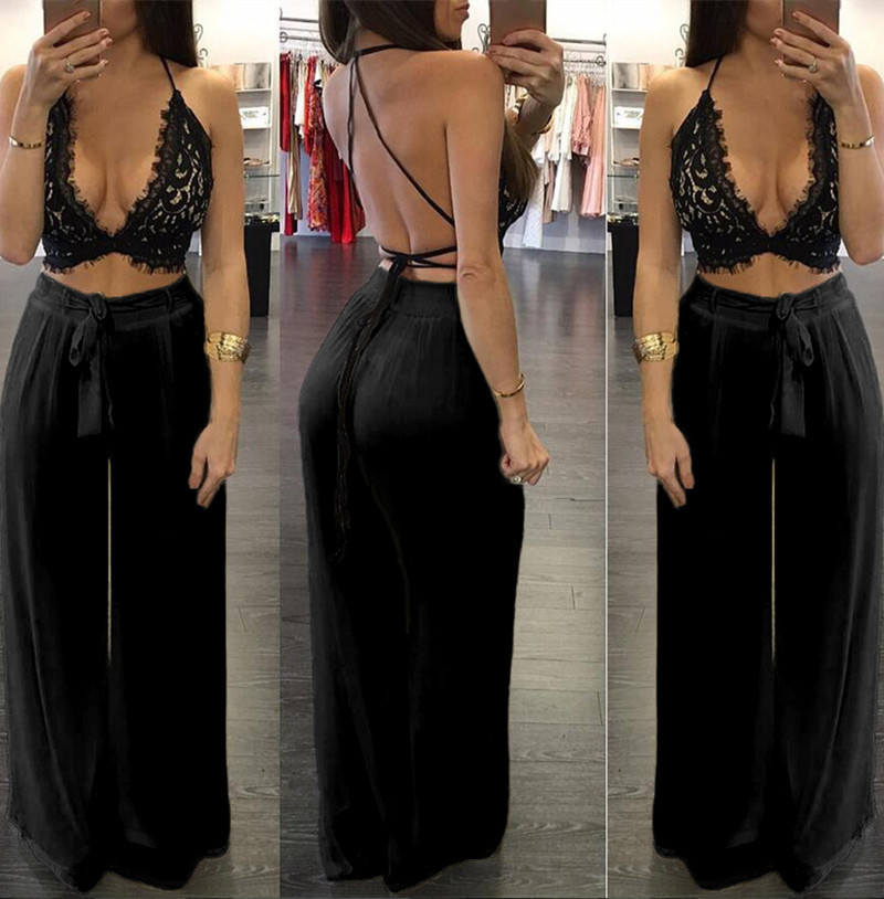 B30843A Europea hot style women lace bra and wide-legged pants sexy nightclub two-piece jumpsuits