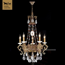5 Lights french bronze small crystal chandelier lighting tear drop