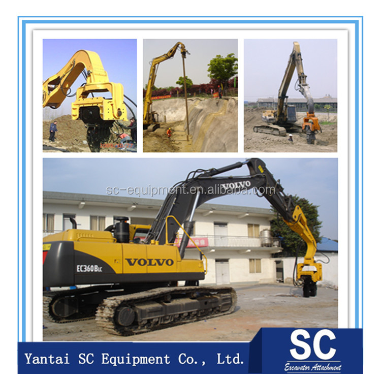 Excavator hydraulic pile hammer for concrete pile