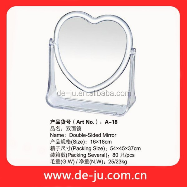 Silver Heart Plastic Frame Transparent Two Face Mirror