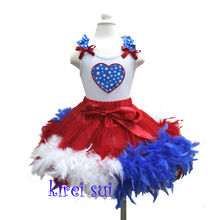 4th July - Blue Red White Feather Red Pettiskirt Plus Ruffles Shoulder Star Heart White Tank Top Outfit 1-7Y