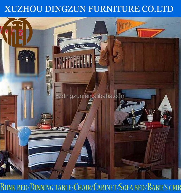 Best Quality Solid Wood Teenager Bunk Bed With Table And Shelf For