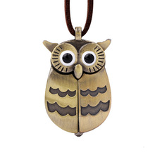 New Design Open Wings Owl Pocket Watch Pendant Necklace With Leather For Gift