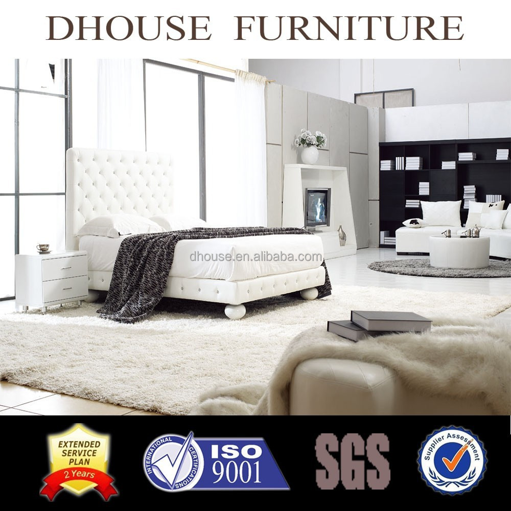 bedroom furniture white leather soft bed DH813