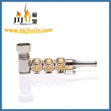 JL-327 Yiwu Jiju Fancy Aluminum Engraved Triple Ball Decorative Smoking Pipe