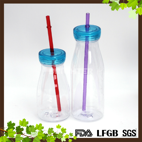 FDA LFGB PASSED Clear Plastic Water Milk Juice Bottle with Straw