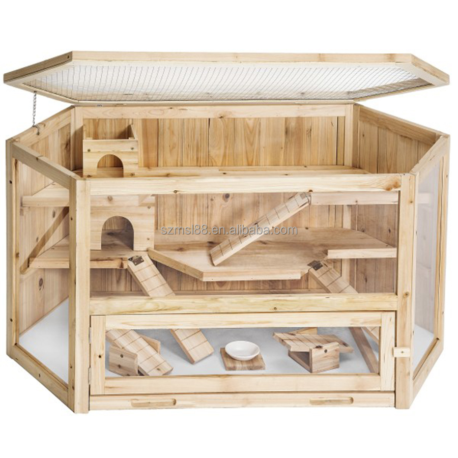 new customized comfortable wholesale hamster house wooden hamster cage