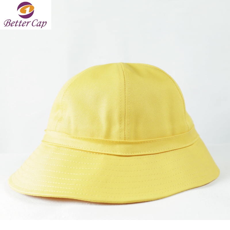 fashion high quality yellow color plain kids bucket hats