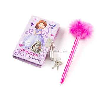 mini diary with lock and fluffy feather pen