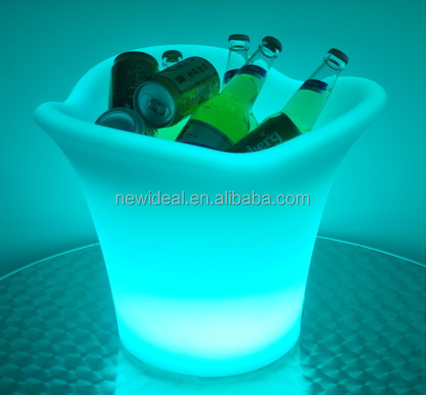 PE plastic 3 leaf wireless control led ice bucket ( NJ1546)