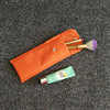 Small Orange long pouch eyebrow pencil cosmetic bag