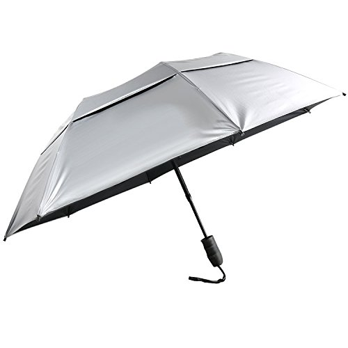 "Hot Sales 46"" UV Protection Vented Canopy 2 Fold Golf Umbrella with Auto Open Telescopic Fiberglass Shaft"