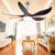 Living room summer decorative save energy 5 blades 24w light electric remote control ceiling fan