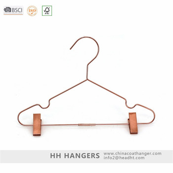 Rose Gold copper wire metal hanger with clips metal pants clothes hanger