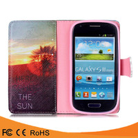 Best price paint colors flip pu leather waterproof case cover for samsung galaxy s3 mini