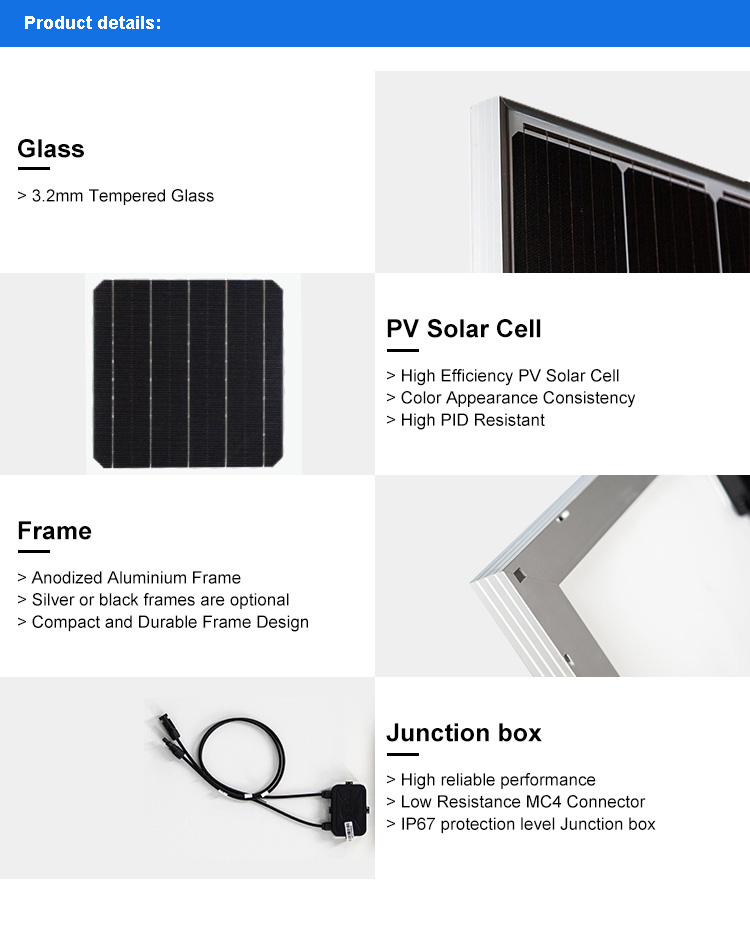 200W Monocrystalline solar panel with high efficiency for home power