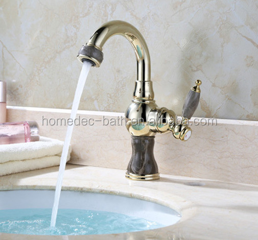Gold plated Brass jade wash basin tap single hole hot cold water taps