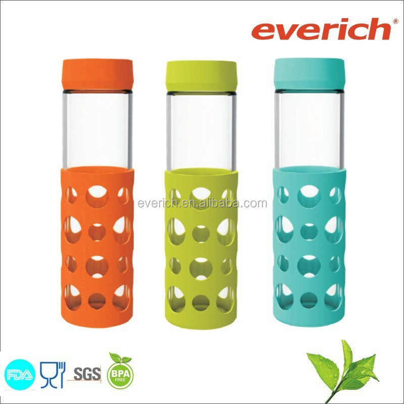 custom color thick borosilicate glass travel mug water bottle with sleeve