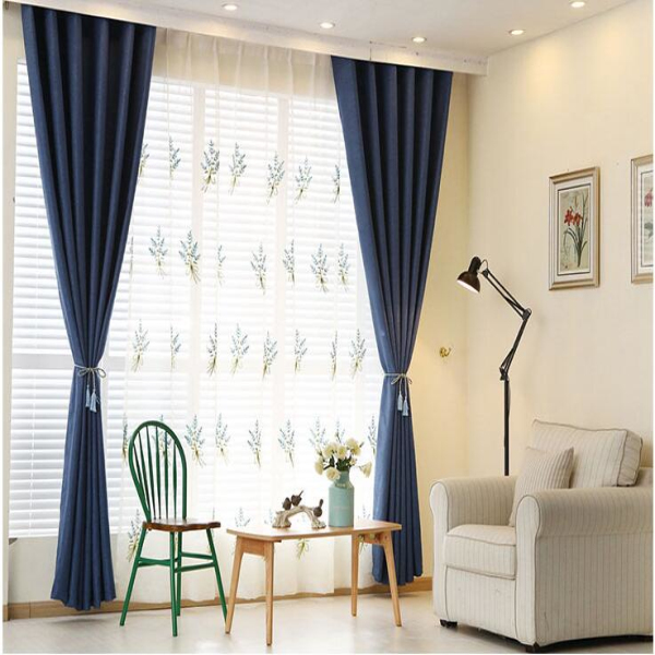 Pure color linen electrically operated folding curtain