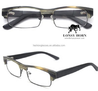 horn eye wear frame with metal rimless sunglasses Horn Sunglasses recycled material