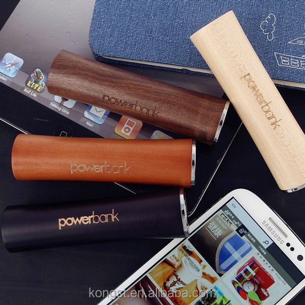 wood backup power for mobile 1200-3000mah cylinder external battery charger