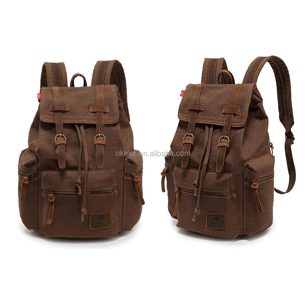 2017 Hot Sale High Quality Coffee Vintage Travel Canvas Backpack