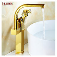 Fyeer factory price brass pull out sprayer durable kitchen faucet with gold plated