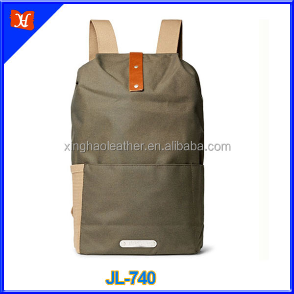 Vintage clim waterproof water-resistant canvas laptop backpack with vegetable leather trimmed
