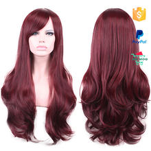 High Fashion Wine Red Wavy Human Hair Full Lace Wig