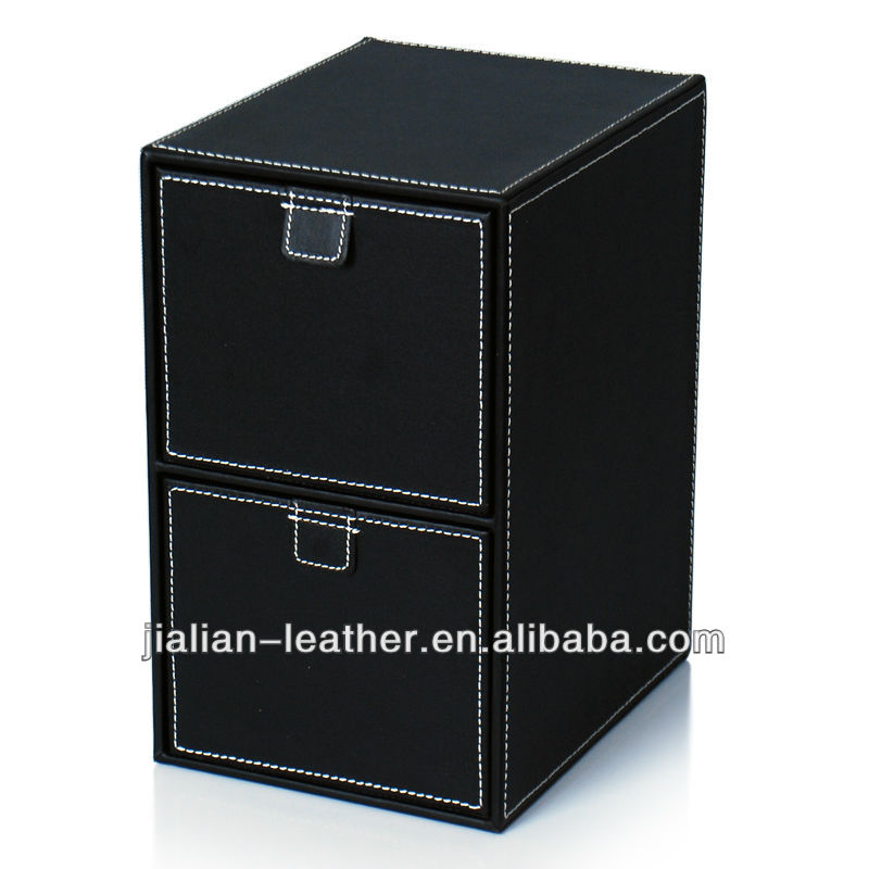 2 drawers PVC Leather CD/DVD Case