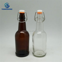 Beer Use and Glass Material Amber/Clear Glass Beer Bottle with Swing Top 500ml