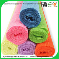 roll with opp bag, 100 rolls/box brown/red/blue/green crepe paper
