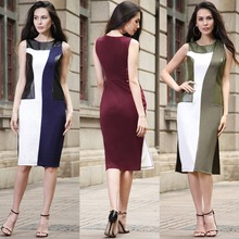 X61093A Women Patchwork PU Leather Stitching Pencil Sleeveless Side Split Career Dress