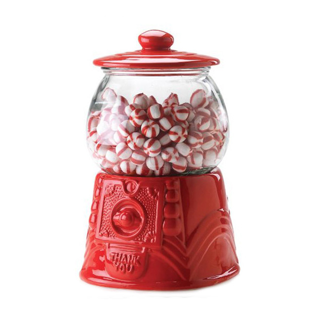 Home Essentials Red Ceramic/glass Gumball Candy Canister