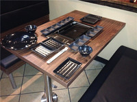 BBQ restaurant furniture wood grill table(FOH-BC22)