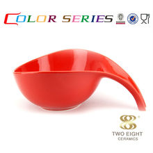 Color dinnerware red ceramic nesting fruit dog bowls with handle12 inch