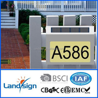 Solar lights manufactures made steel outdoor light cover with numbers super bright 4*white led solar powered house number light